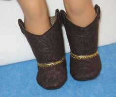 Brown Cowgirl Boots for 18 inch American Girl Size Doll with Shoebox via Etsy.