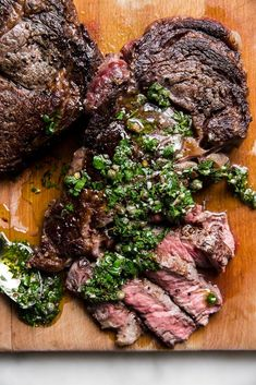 It doesn't get much more decadent than this juicy, rich and buttery grilled rib eye steak with Italian salsa verde. Unique Recipes, Easy Healthy Recipes, Great Recipes, Dinner Recipes, Favorite Recipes, Delicious Recipes, Recipe Ideas, Grilling Recipes, Beef Recipes