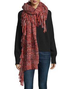 D19GF Rebecca Minkoff Chunky Melange Blanket Scarf, Ruby/Black/Cream