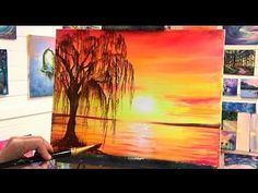 Acrylic Painting Trees, Abstract Painting Techniques, Canvas Painting Tutorials, Easy Canvas Painting, Simple Acrylic Paintings, Diy Canvas Art, Acrylic Tutorials, Painting Videos, Acrylic Art