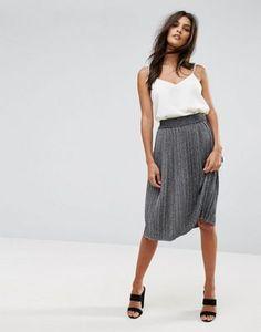 Vero Moda Glitter Pleated Midi Skirt