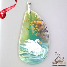 UNIQUE HAND PAINTED SWAN PENDANT FOR NECKLACE GEMSTONE WITH SILVER BAIL ZL807879 #ZL #Pendant