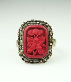 Antique Chinese Export Cinnabar Sterling Silver Adjustable Ring. $45.00, via Etsy.