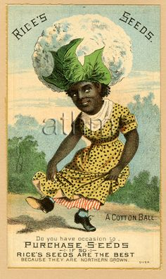 Vegetable person advertising trade card - cotton bale.
