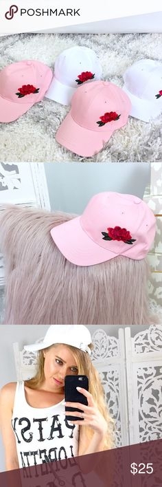 """Embroidered Hats The 90s are coming back & these embroidered baseball hats are in style! Your choice of pink or white.   ▫️""""Buy Now"""" to purchase this listing or """"Add to Bundle"""" to add more items.   📷YouTube: http://youtu.be/HyJJZVz3gUI   Please subscribe! Xoxo💕  👉🏻↓Etsy Design + Branding Shop↓ www.etsy.com/shop/SparkleCoDesigns  Shop my other closet: @shop_blush  ↓Follow me on Instagram ↓         @ love.jen.marie ShopBlush Accessories Hats"""