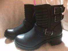 Ladies biker style boots - Escape - Black - Size 6 - New #Escape #BikerBoots