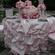 See more about ruffled tablecloth, wedding receptions and wedding linens. Wedding Table Setup, Wedding Table Linens, Wedding Centerpieces, Wedding Decorations, Ruffled Tablecloth, Romantic Table, Beautiful Table Settings, Wedding Show, Wedding Tips