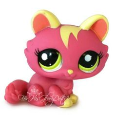 ✵Littlest Pet Shop✵1900✵HOT MAGENTA PINK YELLOW TABBY KITTEN KITTY CAT✵BIG HEAD✵I like the ones with innocent looks. So cute!