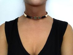 Minimal Metal Choker Necklace Gold by blacvintage1 on Etsy, $22.00