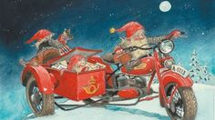 Made by the Norwegian artist Kjell E. Midthun well known for his pictures of the small Norwegian nisse. Christmas Mail, Christmas Photos, Vintage Christmas, Photo Postcards, Vintage Postcards, Illustrator, Norwegian Christmas, Baumgarten, Elves And Fairies