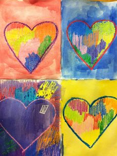 Mrs. Wille's Art Room: Jim Dine inspired watercolor wax resist hearts