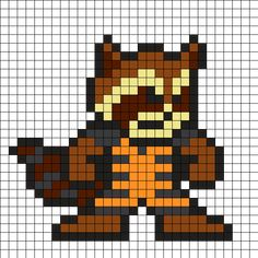 Rocket Raccoon - Guardians of the Galaxy Perler Bead Pattern
