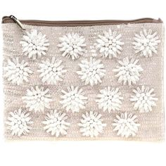 ASOS Floral Beaded Clutch Bag ($68) ❤ liked on Polyvore featuring bags, handbags, clutches, accessories, purses, fillers, nude, genuine leather handbags, floral clutches and genuine leather purse