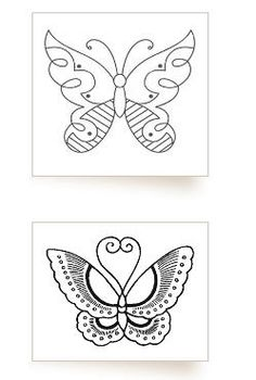 Butterfly Tattoo Flash Black Outline Female Leg Small