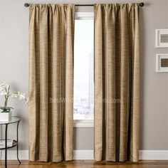 Tandora Stripe Curtain Panel In Wheat Bark Striated Color Blends Open Crisscross Pattern Between