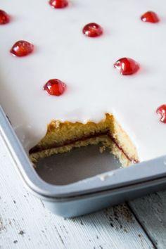 Iced Bakewell Tart Tray Bake   Marsha's Baking Addiction
