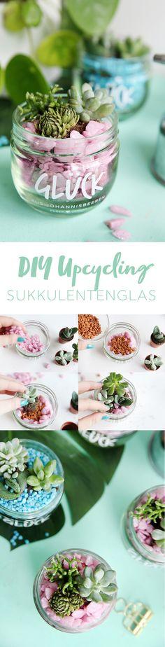 Kreative Marmeladenglas DIY Idee: Upcycling aus altem Marmeladenglas - kleiner DIY Sukkulentengarten im Glas | Step by Step DIY Tutorial