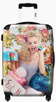 Suitcase Lollipops fashion blonde girl