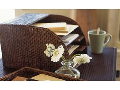 Handwoven rattan paper #organiser perfect for keeping your desk in order.