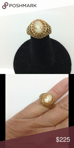 14k yellow gold, cameo, filigree, fashion ring Gently used. interesting in trading or making a best offer? My price is set in concrete and PoshMark discourages trades Jewelry Rings