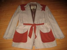 VINTAGE 1950 S ELVIS 2-TONE BELTED HOLLYWOOD LEISURE JACKET -RARE STYLE!- L-