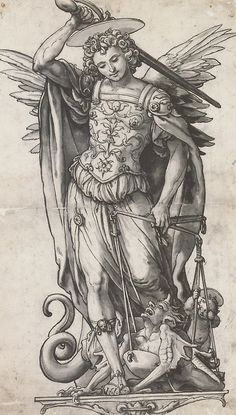 """The Archangel Michael Weighing Souls"", preparatory drawing by Hans Holbein the Younger (1523) #art"