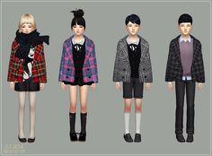 Child_ACC_Winter Coat_v2 checked_unisex_어린이 겨울 코트 체크 버전_남녀 공용 악세사리 의상 - SIMS4…
