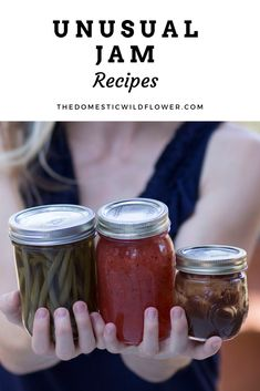 If you're looking for an unusual jam recipe, you're in the right place. These are some fantastic, unusual jam recipes to give as gifts, test your canning skills, stretch your imagination, and get you out of a canning rut. Watermelon Jam, Kiwi Jam, Mango Jam, Pear Jelly Recipes, Jam Recipes, Canning Recipes, Ginger Jam, Ginger Peach, Chia Seed Jam Recipe