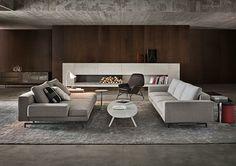 Contemporary sofa / fabric / by Rodolfo Dordoni / brown - POWELL - Minotti Sofa Design, Living Room Interior, Living Room Decor, Dining Room, Living Room Designs, Living Spaces, Home Theaters, Interior Architecture, Interior Design