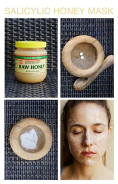 HONEY MASK.jpg Crush the 2 aspirin with your mortal and pestle (you can crush it with a mug and a plate, basically anything) until it is a fine textured powder. Place in a small bowl. Next, take a large dollop of raw honey and mix it in with the crushed aspirin.