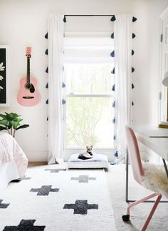 A playful and pattern-filled pre-teen's bedroom. Playful Pink, Black and Blue Pre-Teen Girls Bedroom Teenage Girl Bedrooms, Big Girl Rooms, Teen Bedroom, Bedroom Decor, Bedroom Curtains, Master Bedroom, Pb Teen Rooms, Modern Girls Bedrooms, Bedroom Bed
