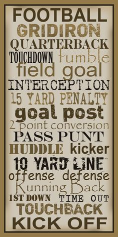 Subway Art Sign Football Typography Print 10x20 by PaperBleu, $23.00