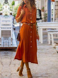 New Autumn Ladies Long Shirtdress Women Fashion Long Sleeve Button Side Slip Dress Female High Street Elegant Shirt Dress Solid-geekbuyig Mode Outfits, Dress Outfits, Fashion Dresses, Summer Dresses For Women, Fall Dresses, Floral Dresses, Long Casual Dresses, Dress Summer, Blue Dresses