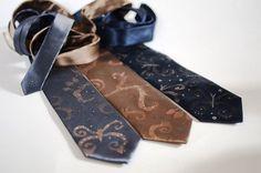 2014 Neckties grey brown navy, men necktie hand painted butterfly design, gift for men - Hand painted accessories for men OOAK for order - men accessories