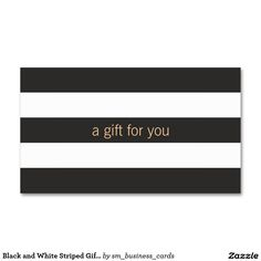 Black and White Striped Gift Card Double-Sided Standard Business Cards (Pack Of 100)