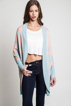 ETHNIC LONGLINE CAPE CARDIGAN-Dusty Blue