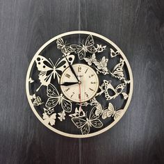 Butterfly Wall Wood Clock $31.99 Size - 12 in / 30 cm Really cool gift and unique home decoration ;) Can be personalized for free ;) Free Shipping WORLDWIDE. Tracking ID is provided. In case the clock comes broken or with defect, I will make you a refund or will send you a replacement!
