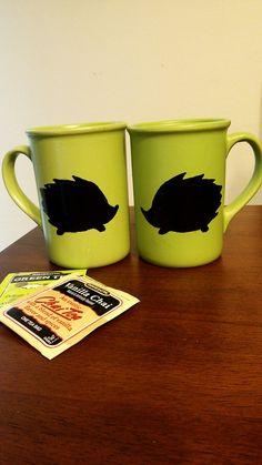 Lovely Hand Painted Hedgehog Mug Set by mandapanda83 on Etsy, $15.00