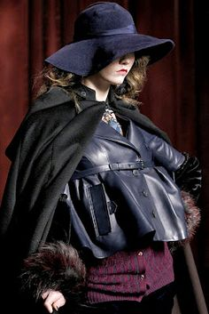 Blue leather Dior jacket. Visit www.lifeandstyleonadime.com for Fall trends. Image stilletto bootlover_83
