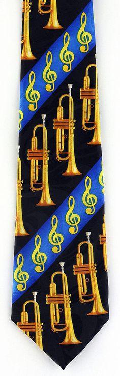 New Trumpet Song Mens Necktie Musical Instrument Trumpet Music Blue Neck Tie #StevenHarris #NeckTie