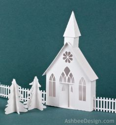 Country Chapel Silhouette Cutting file by Ashbee Design - combine with other Ledge Village cutting files.