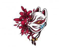 Japanese Mask Tattoo, Body Art Tattoos, Japanese Art, Kitsune Mask, Japanese Fox Mask, Mask Drawing, Japanese Tattoo Art, Art, Fox Tattoo Design