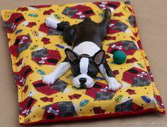 Boston Terrier Art Figurine Polymer Clay Dog Sculpture Sleepy Pup Henry. $125.00, via Etsy.