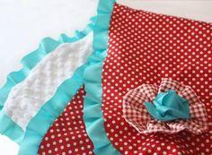 Cherry Dots & Turquoise Ruffle Blanket