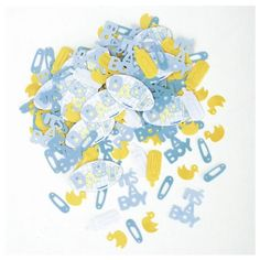 100 baby shower umbrellas padded appliques confetti blue white yellow