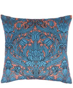 The Liberty London Morris printed velvet cushion adds a decadently soft accent to home interiors. Textile Patterns, Textiles, Printed Cushions, Velvet Cushions, Modern Colors, William Morris, Botanical Prints, Ideal Home, Luxury Branding