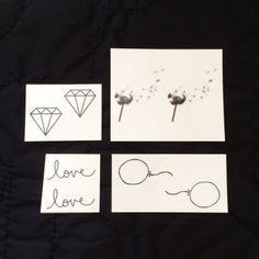 La photo montre nos tatouages dans le milieu.  Cette collection comprend : ballon moyen pissenlit moyen Diamond Medium amour moyen nous trouver...