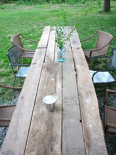 Large outdoor harvest table made from barn wood Outdoor Harvest Table, Outdoor Tables, Harvest Tables, Farm Tables, Wood Tables, Outdoor Farmhouse Table, Rustic Outdoor Furniture, Rustic Backyard, Farmhouse Chic