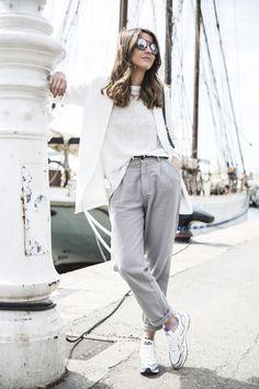 sneakers: Voile Blanche (s/s 16) pants: Double Agent (s/s 16) sweater: Mango (old) blazer: Mango (s/s 16) sunglasses: Calvin Klein bag: Proenza Schouler