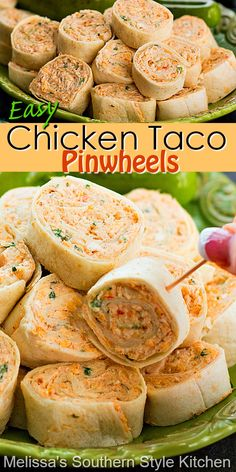 Chicken Appetizers, Finger Food Appetizers, Yummy Appetizers, Easter Appetizers, Easy Pinwheel Appetizers, Mexican Food Appetizers, Healthy Pinwheels, Birthday Appetizers, Taco Pinwheels